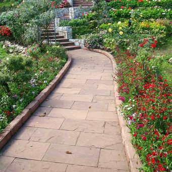 garden pathway made with slate tiles
